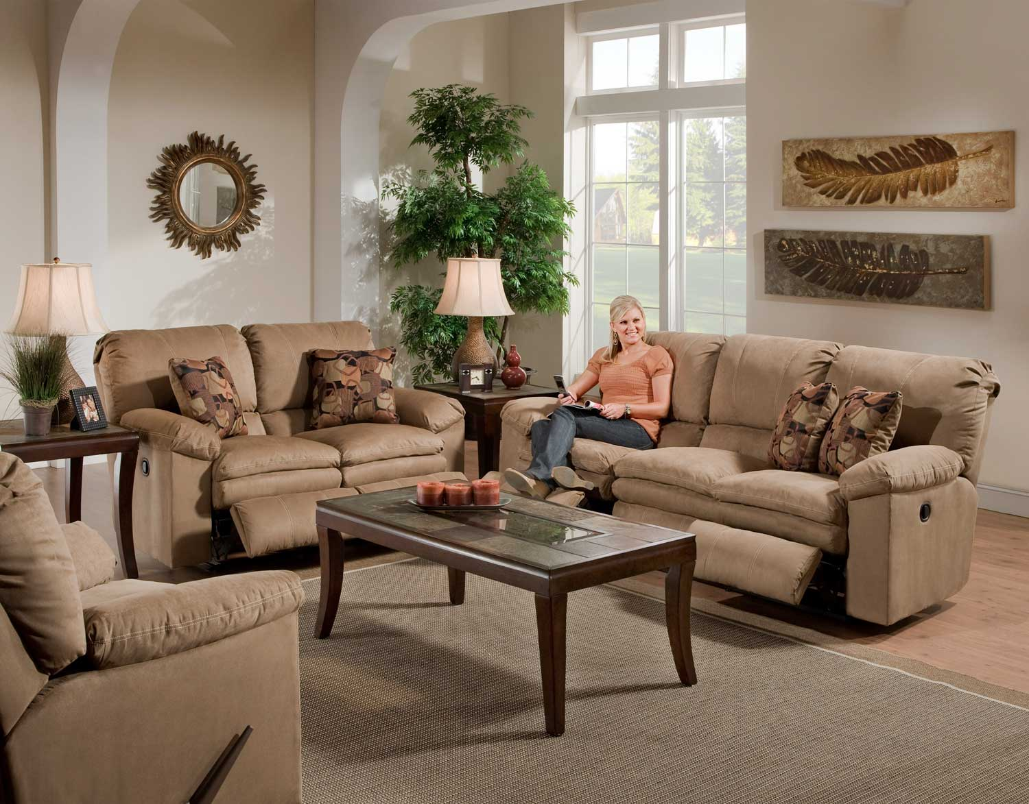 CatNapper Impulse Power Reclining Sofa Set - Cafe