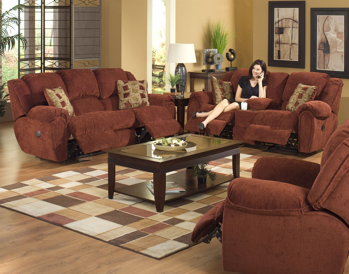 Cheap CatNapper Conrad Sofa Set – Chianti