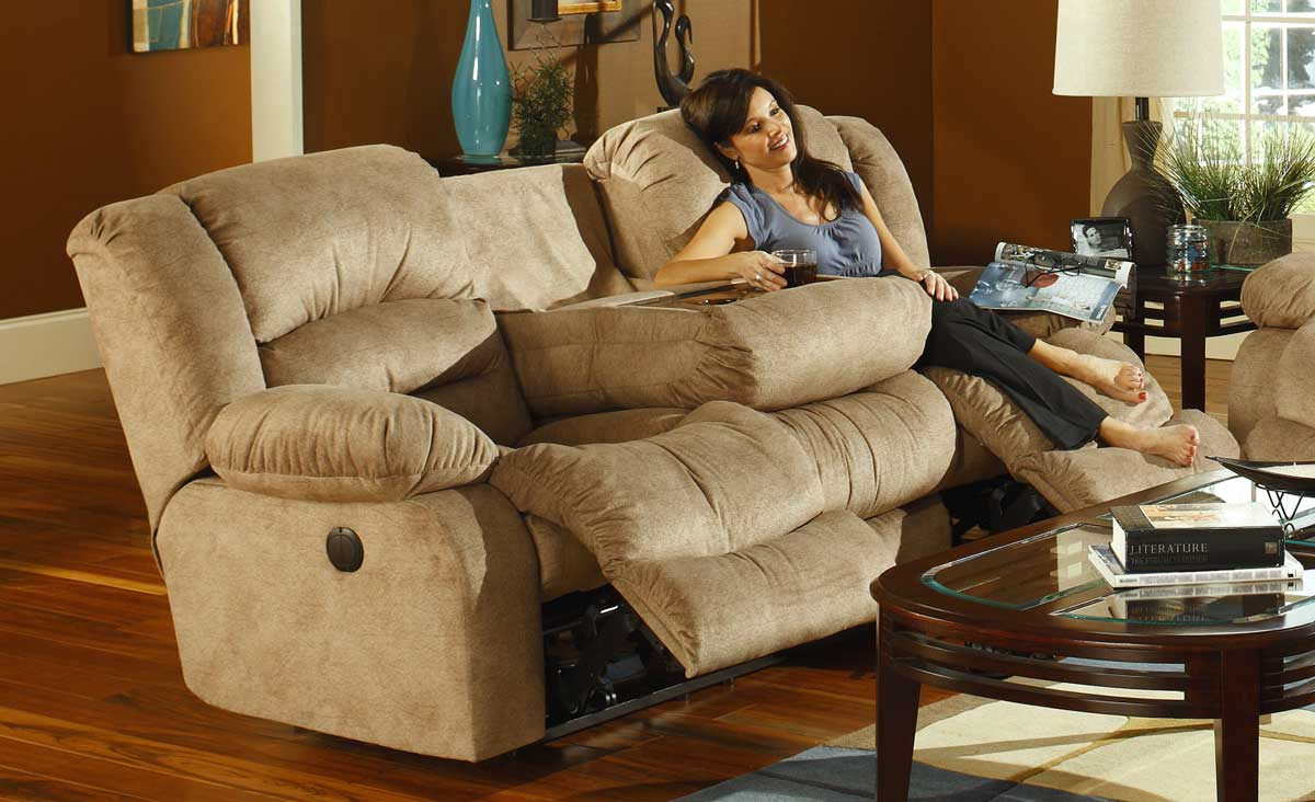 CatNapper Summit Power Dual Reclining Sofa with Burl Drop Down Table