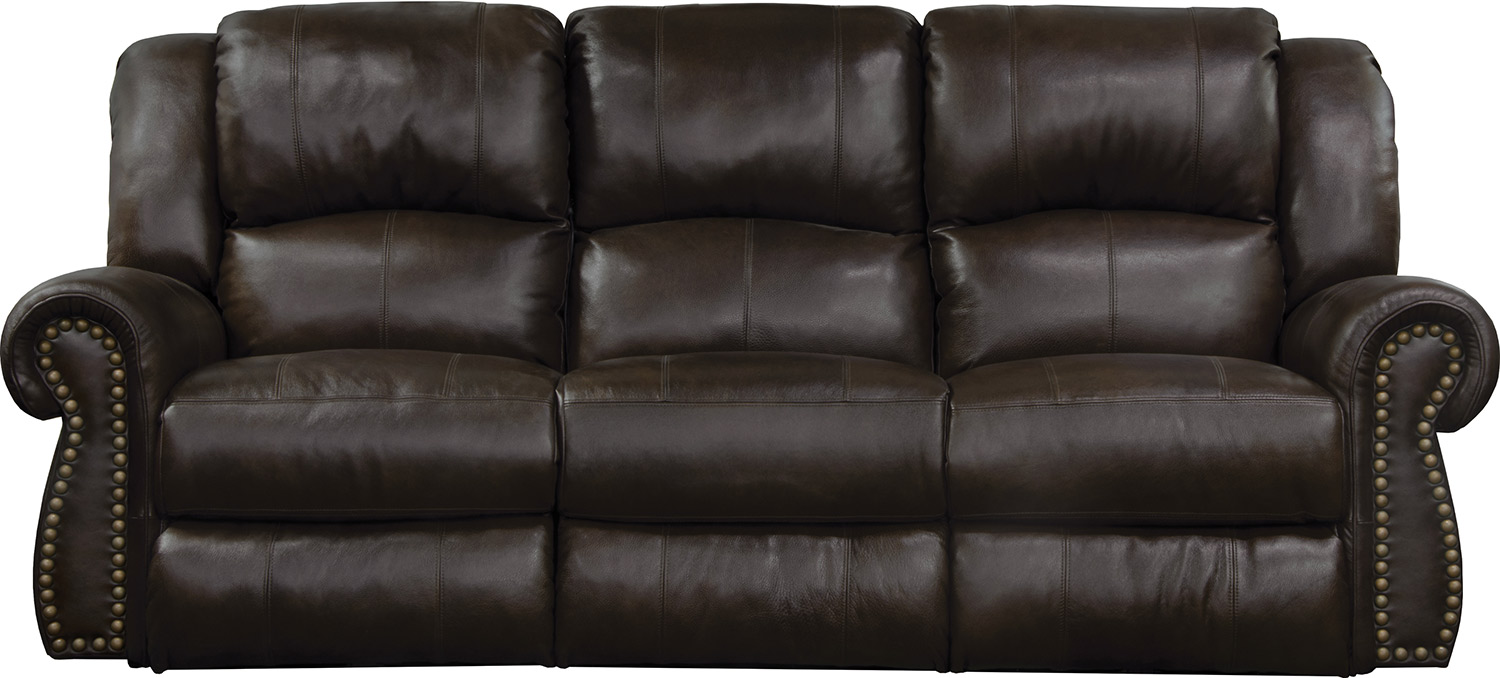 CatNapper Messina Leather Power Reclining Sofa - Chocolate