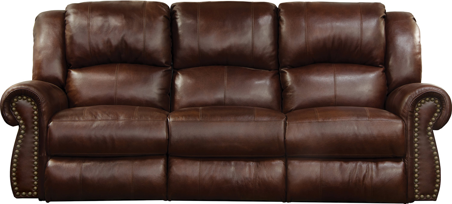 CatNapper Messina Leather Power Reclining Sofa - Walnut