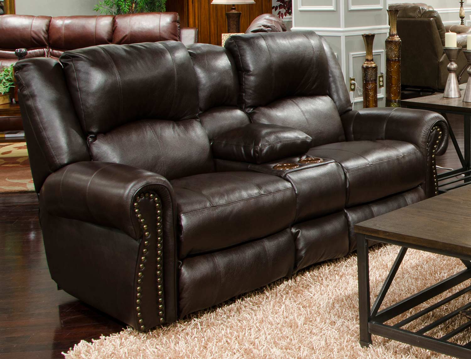 CatNapper Messina Leather Power Reclining Console Loveseat - Chocolate