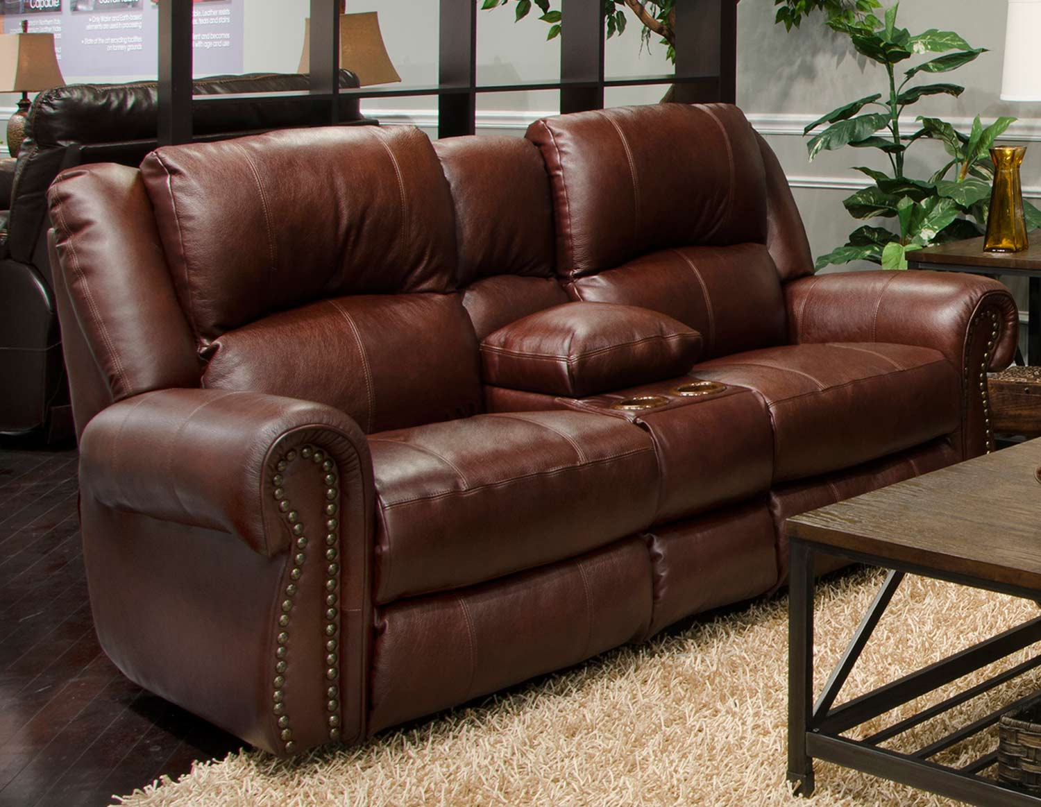 CatNapper Messina Leather Power Reclining Console Loveseat - Walnut