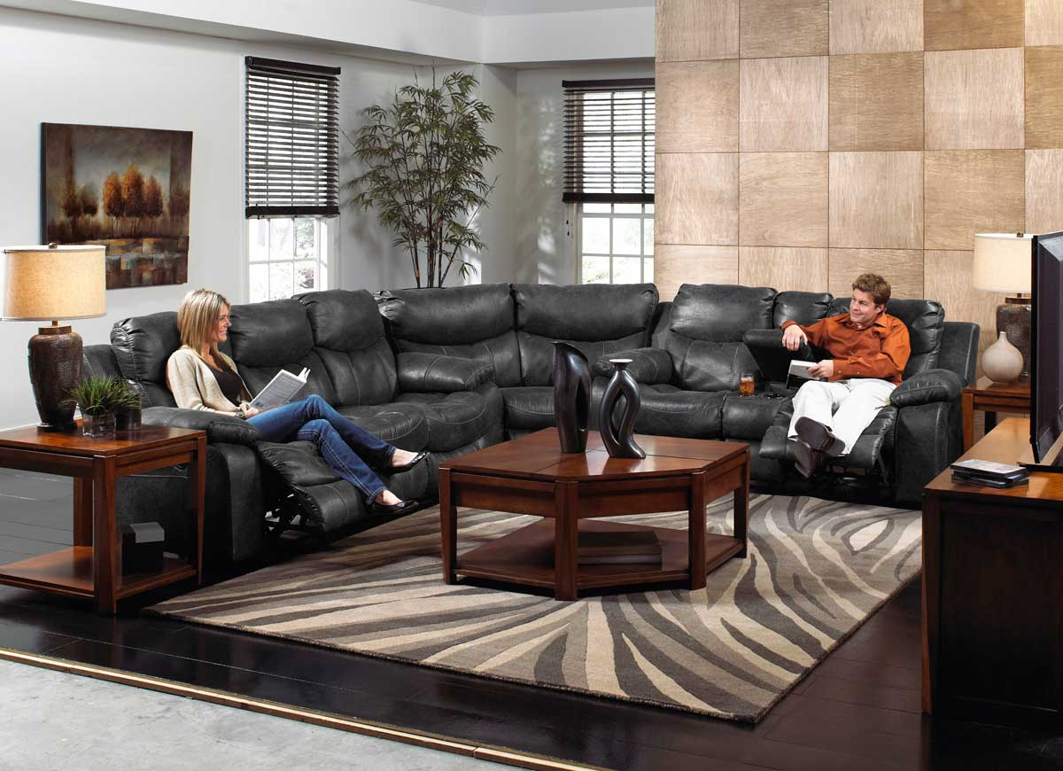 CatNapper Catalina Power Sectional Sofa Set - Steel