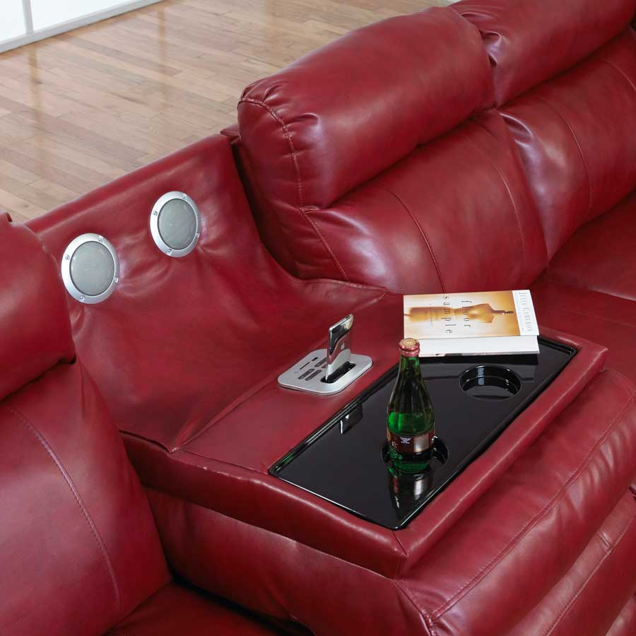 catnapper chastain bonded leather sectional with storage chaise two recliners and red