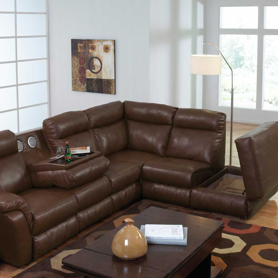 catnapper chastain bonded leather sectional with storage chaise two recliners and entertainment. Black Bedroom Furniture Sets. Home Design Ideas