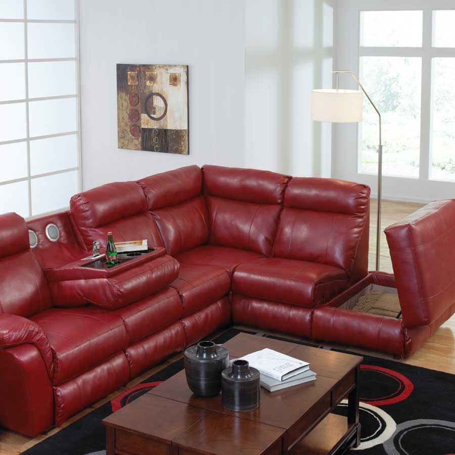 CatNapper Chastain Bonded Leather Sectional With Storage Chaise, Two  Recliners And Entertainment   Red