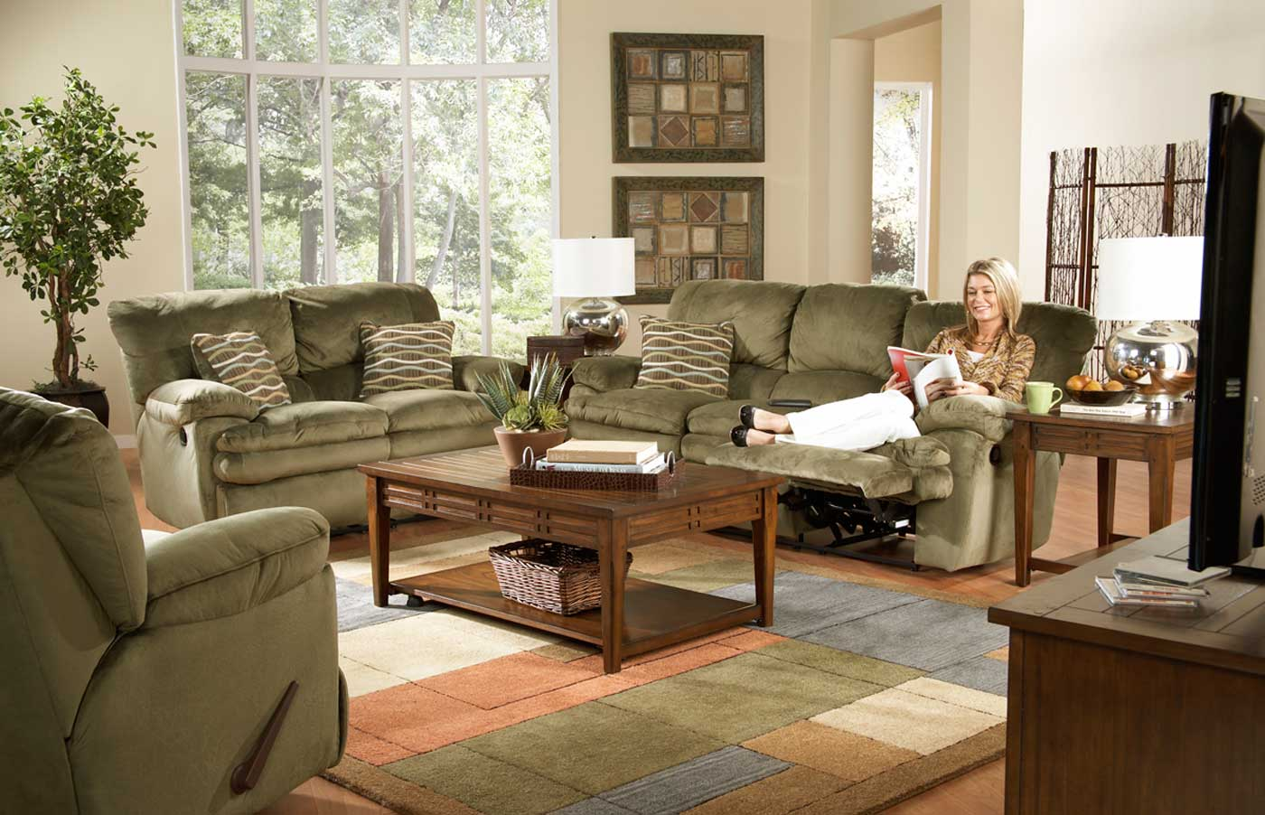 Catnapper Easton Reclining Sofa Set Sage Cn Easton Sofa