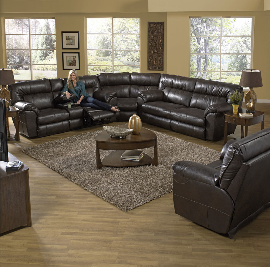CatNapper Nolan Reclining Sectional Sofa Set - Godiva