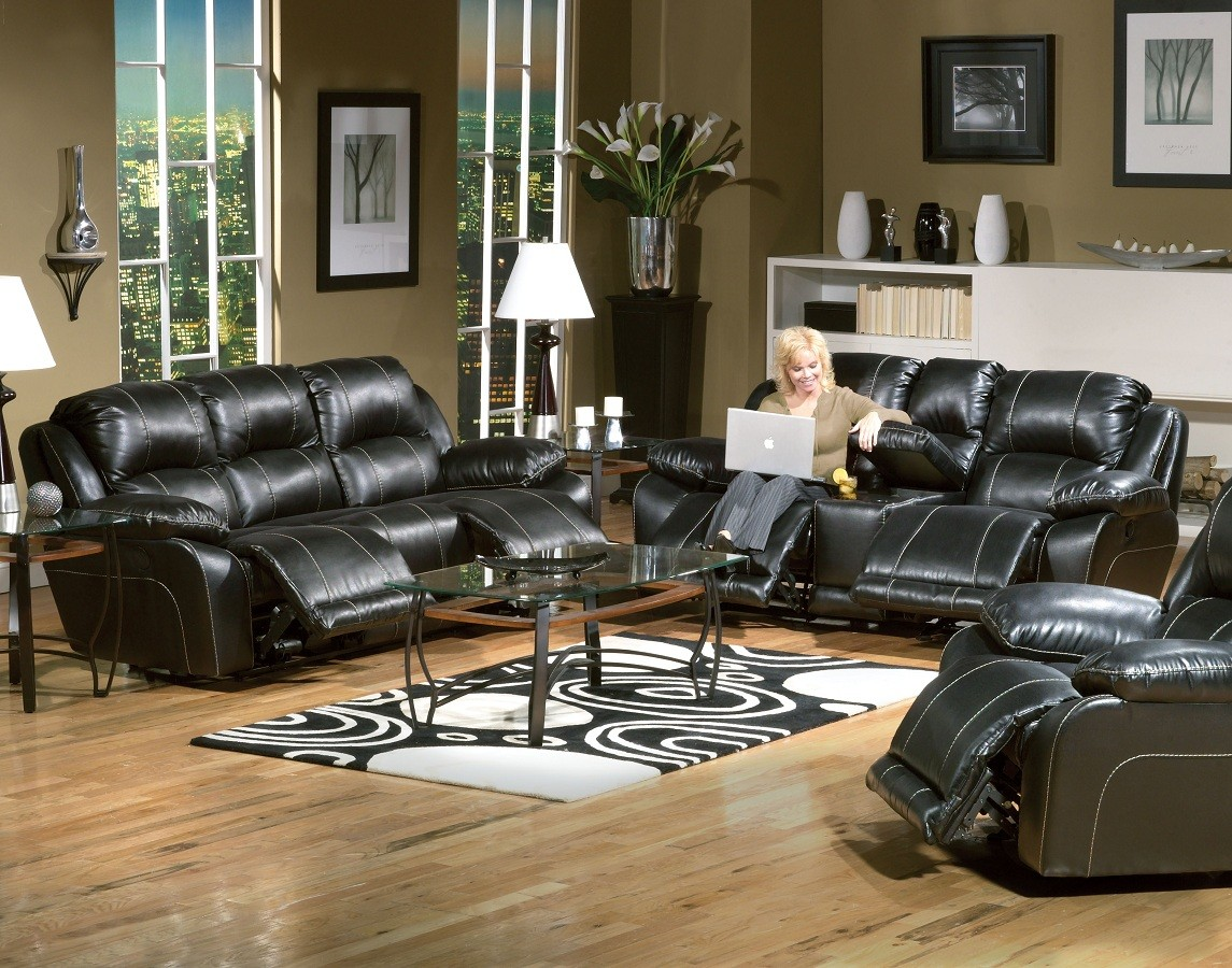 Torino Bonded Leather Sofa Set - Black - Catnapper