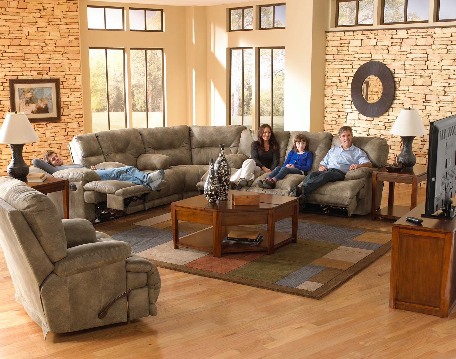 CatNapper Voyager Lay Flat Sectional Sofa Set - Brandy