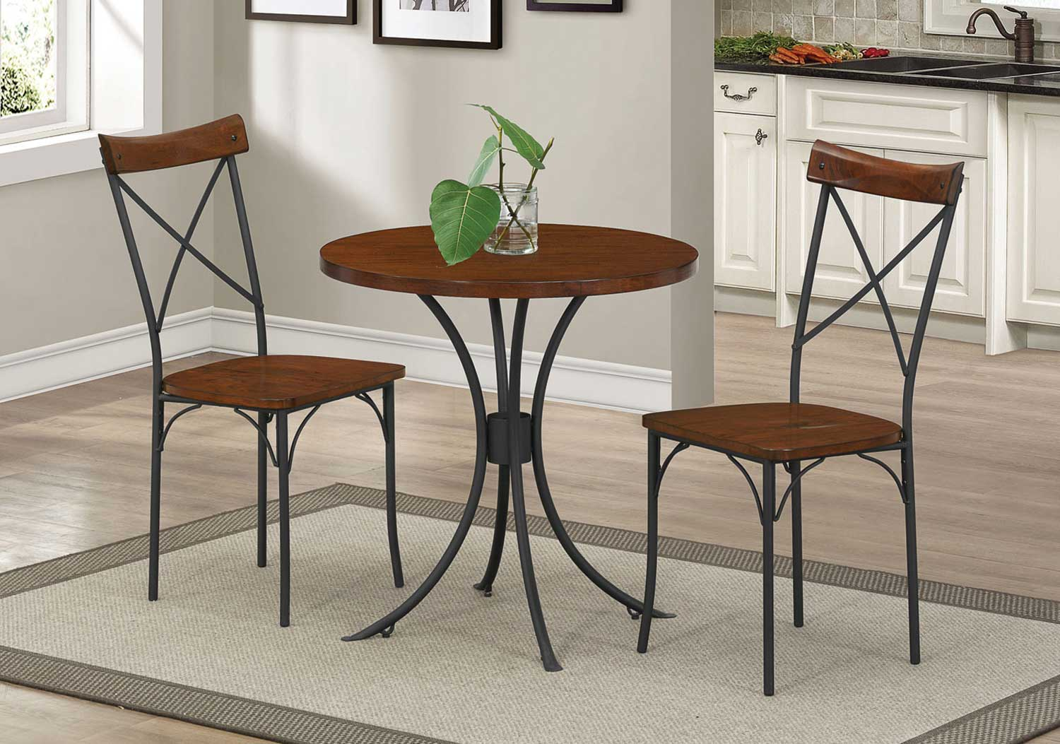 Coaster Jervis 3-Pc Round Bistro Set - Caramel Brown/Charcoal