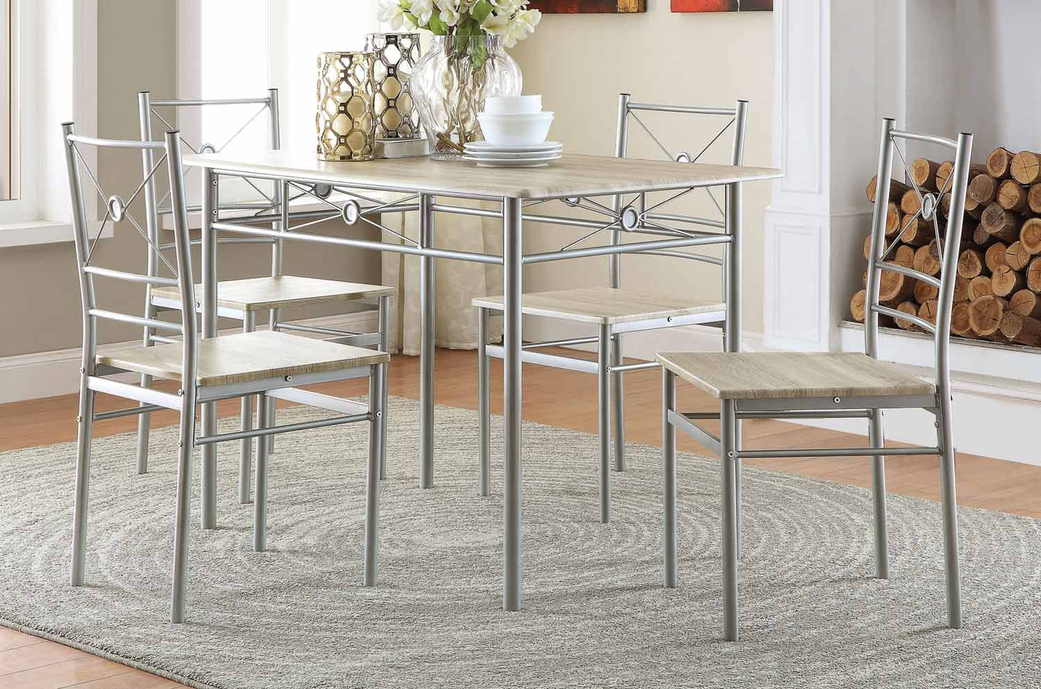 Coaster 100035 5-Pc Dinette Set - Brushed Silver