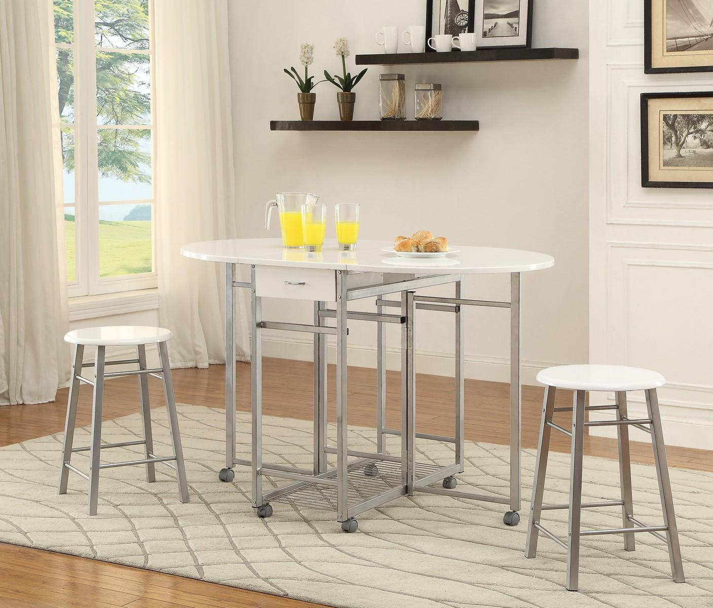 Coaster 100080 3-Piece Dining Set - White/Chrome
