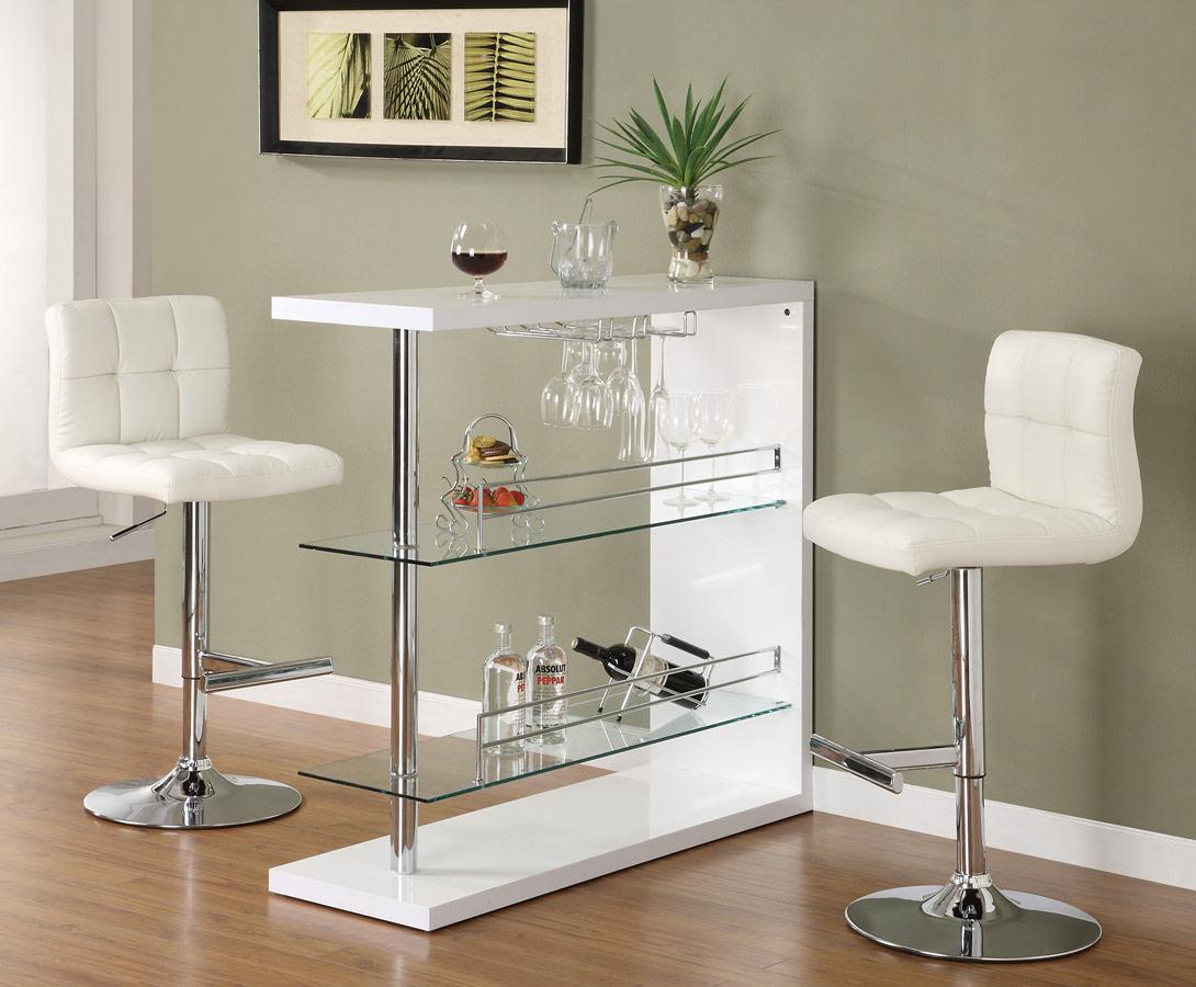 Coaster Furniture Bar Table White CO p kitchen bar table Coaster Bar Table White