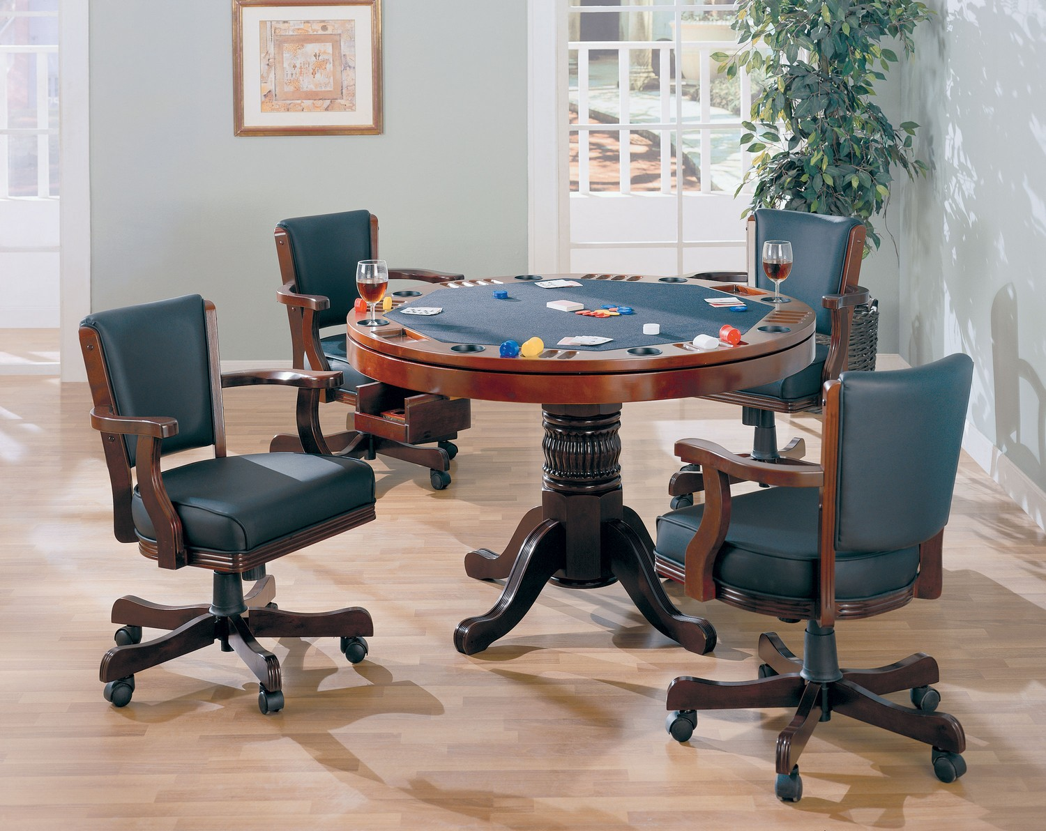 Coaster 100201 Game Table Set - Merlot