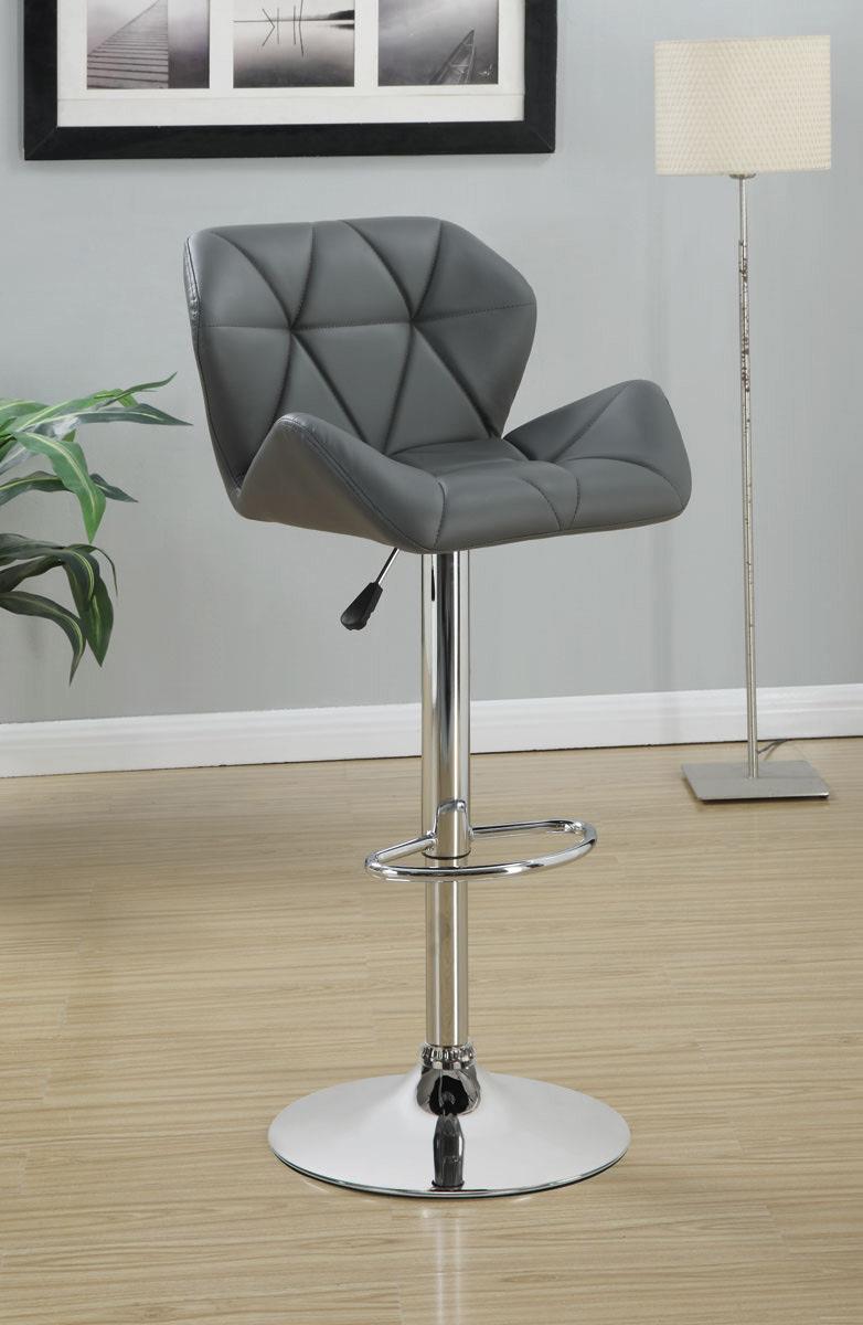 Coaster Rec Room Adj. Stool - Grey/Chrome