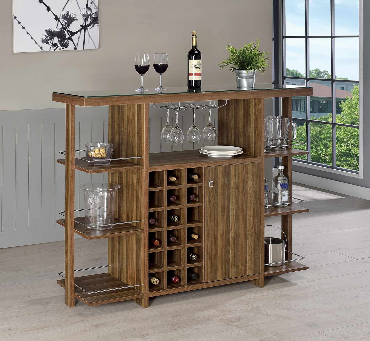 Coaster 100439 Bar Unit - Walnut