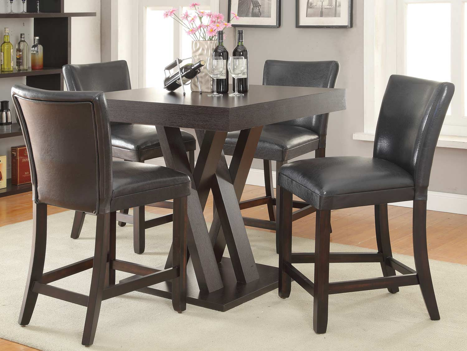 Coaster 100523 Counter Height Dining Set- Cappuccino