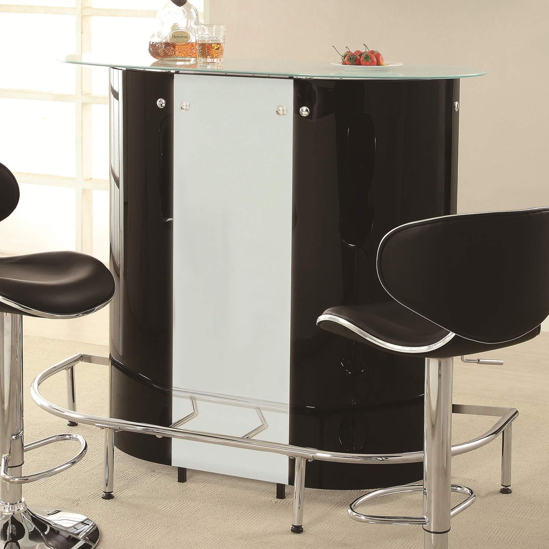 Coaster Contemporary Bar Table - Black/Chrome