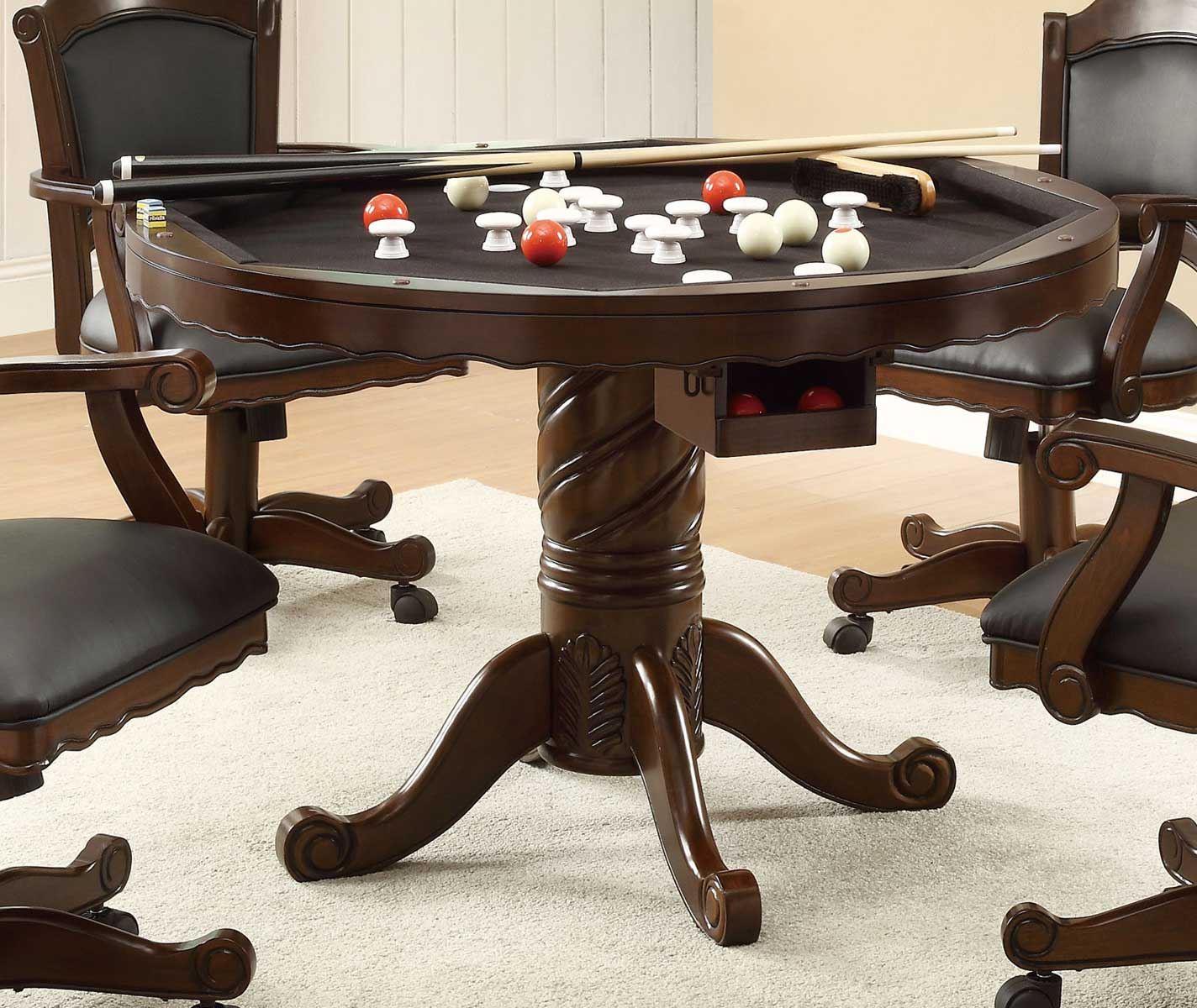 Coaster Turk 3-in-One Game Table - Cherry