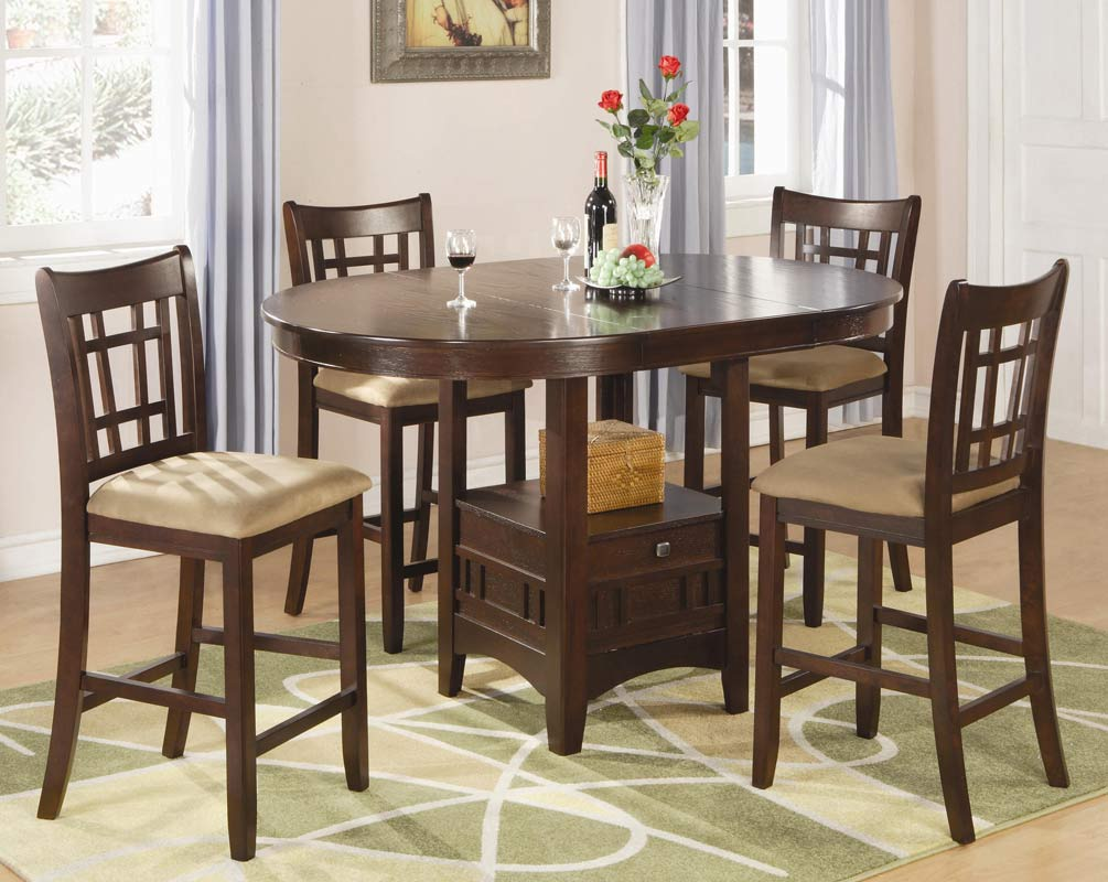 Coaster Lavon Round Counter Height Dining Set - Cherry