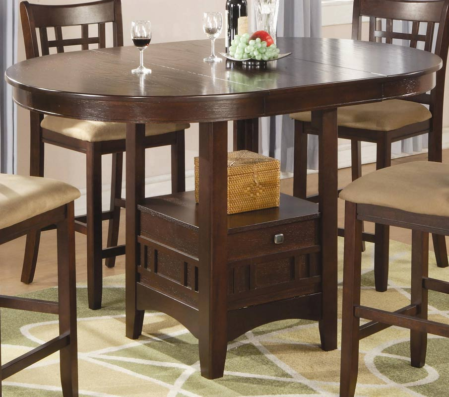 Countertop Height Round Table : Coaster Lavon Round Counter Height Dining Set - Cherry ...