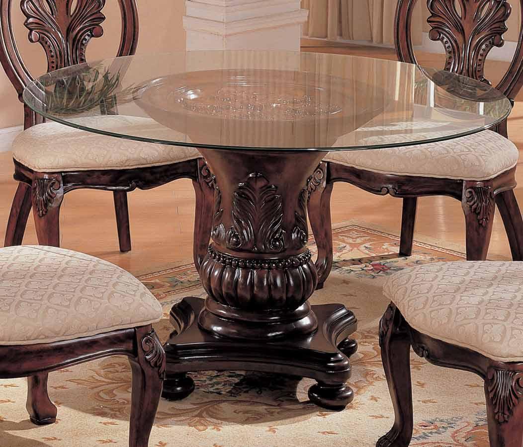 Coaster Tabitha Dark Round Glasss Top Pedestal Table 54 Inch