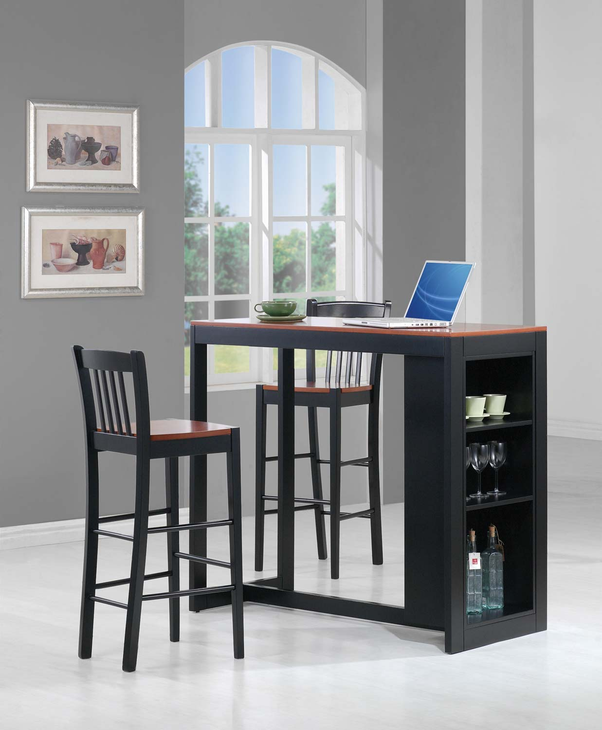 Coaster 101068 3PC Counter Height Dining Set - Black