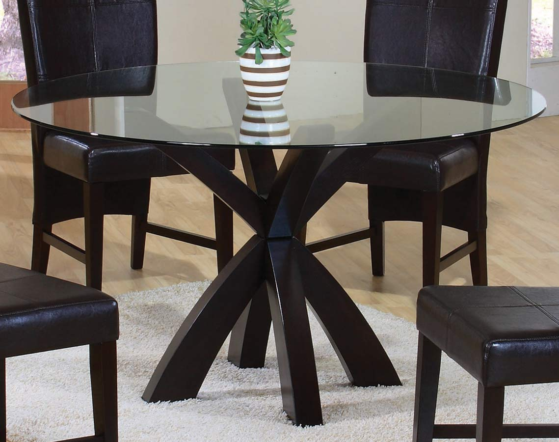 Coaster shoemaker round glass dining table