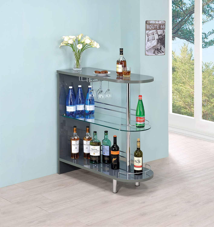 Coaster 101073 Bar Unit - Glossy Grey