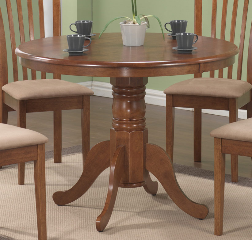 Coaster Brannan Round Pedestal Dining Table - Maple