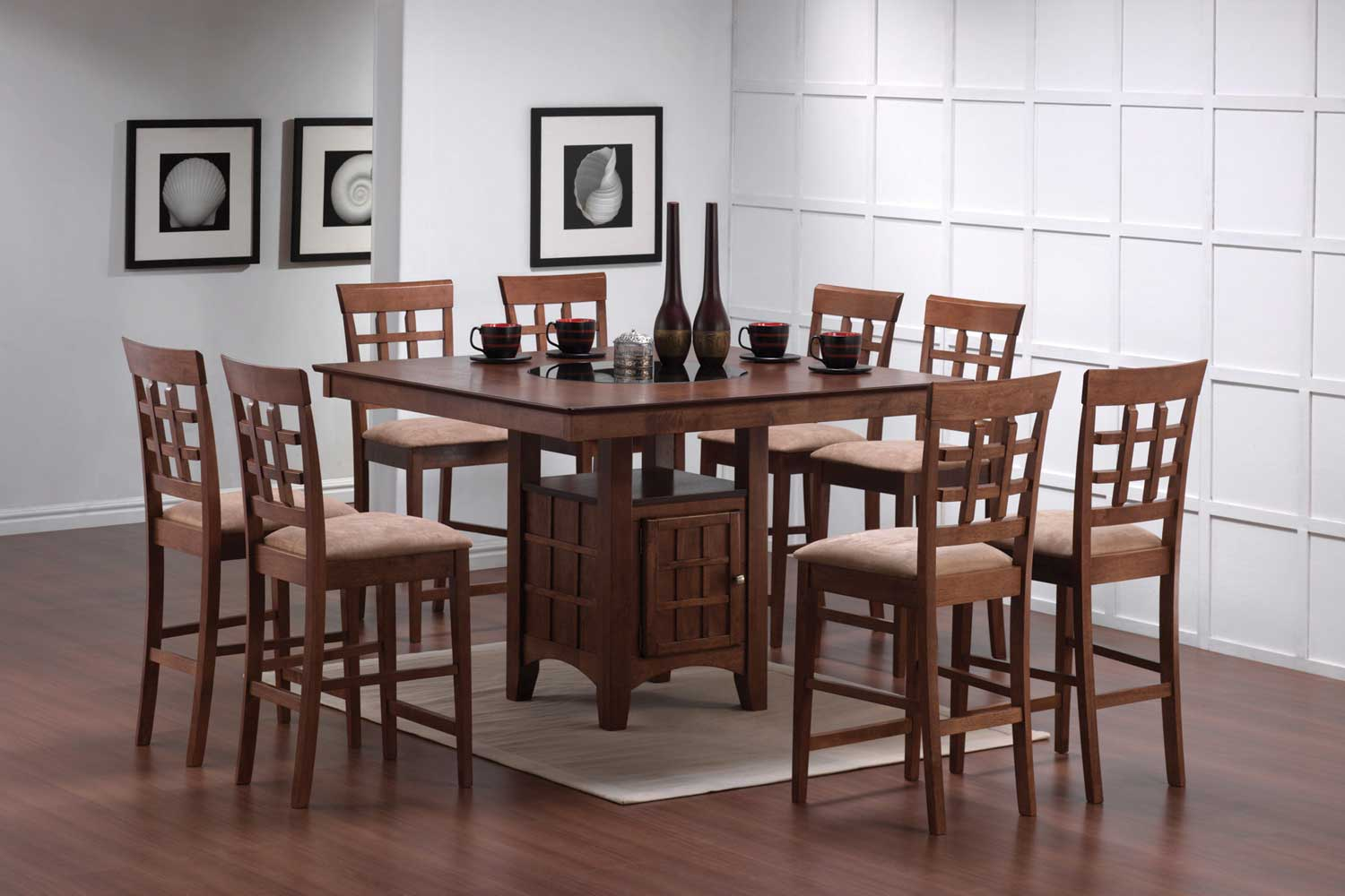 Coaster Mix and Match Counter Height Dining Table Set with Storage Pedestal Base - Walnut