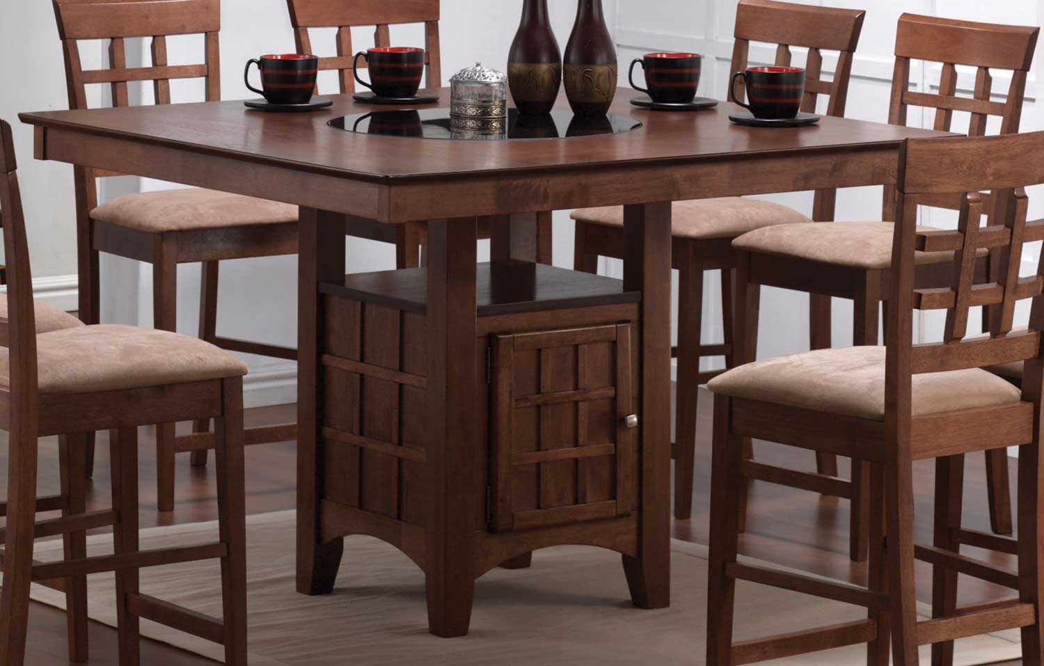 Coaster Mix And Match Counter Height Dining Table With Storage Pedestal Base Walnut