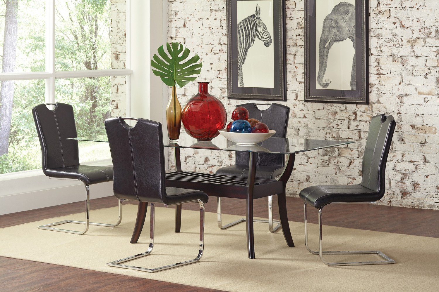Coaster Bloomfield Glass Dining Set -