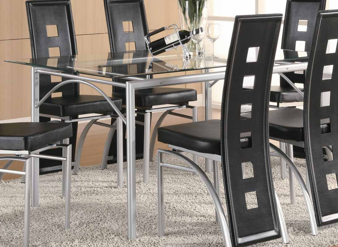 Coaster Los Feliz Rectangular Glass Dining Set - Gray