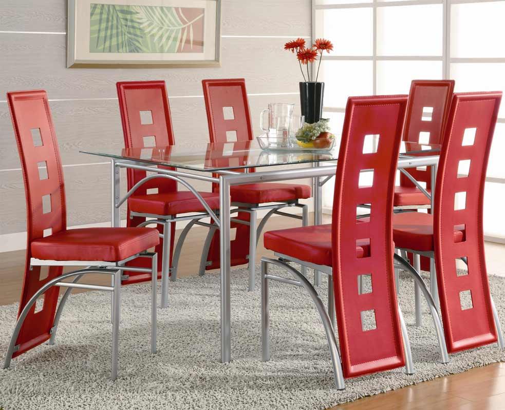 Coaster Los Feliz Rectangular Glass Dining Set - Red