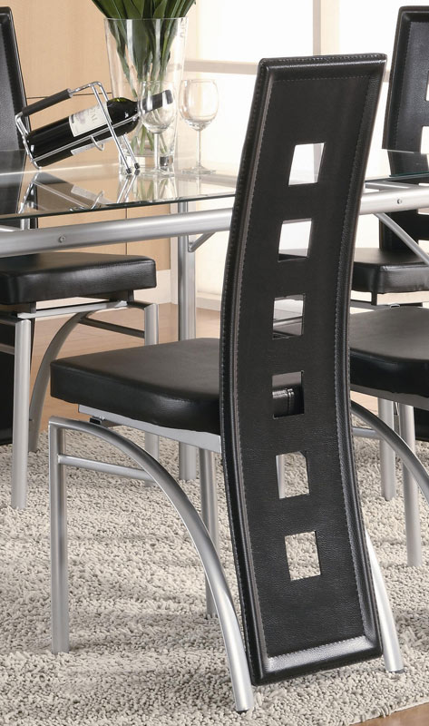 Coaster Los Feliz Rectangular Glass Dining Set - Black