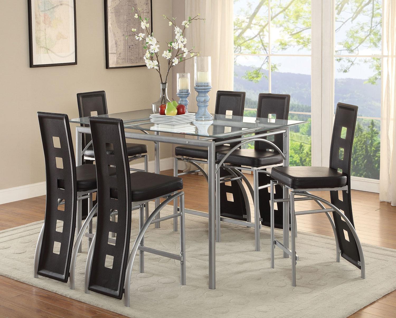 Coaster Los Feliz Rectangular Glass Counter Height Dining Set - Matte Silver