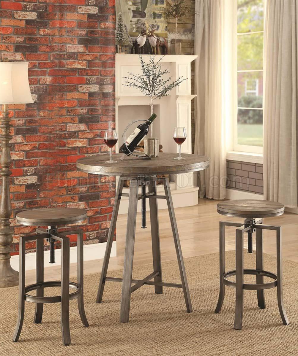 Coaster 101811 Bar Set - Wire Brushed Nutmeg/Brushed Slate Grey