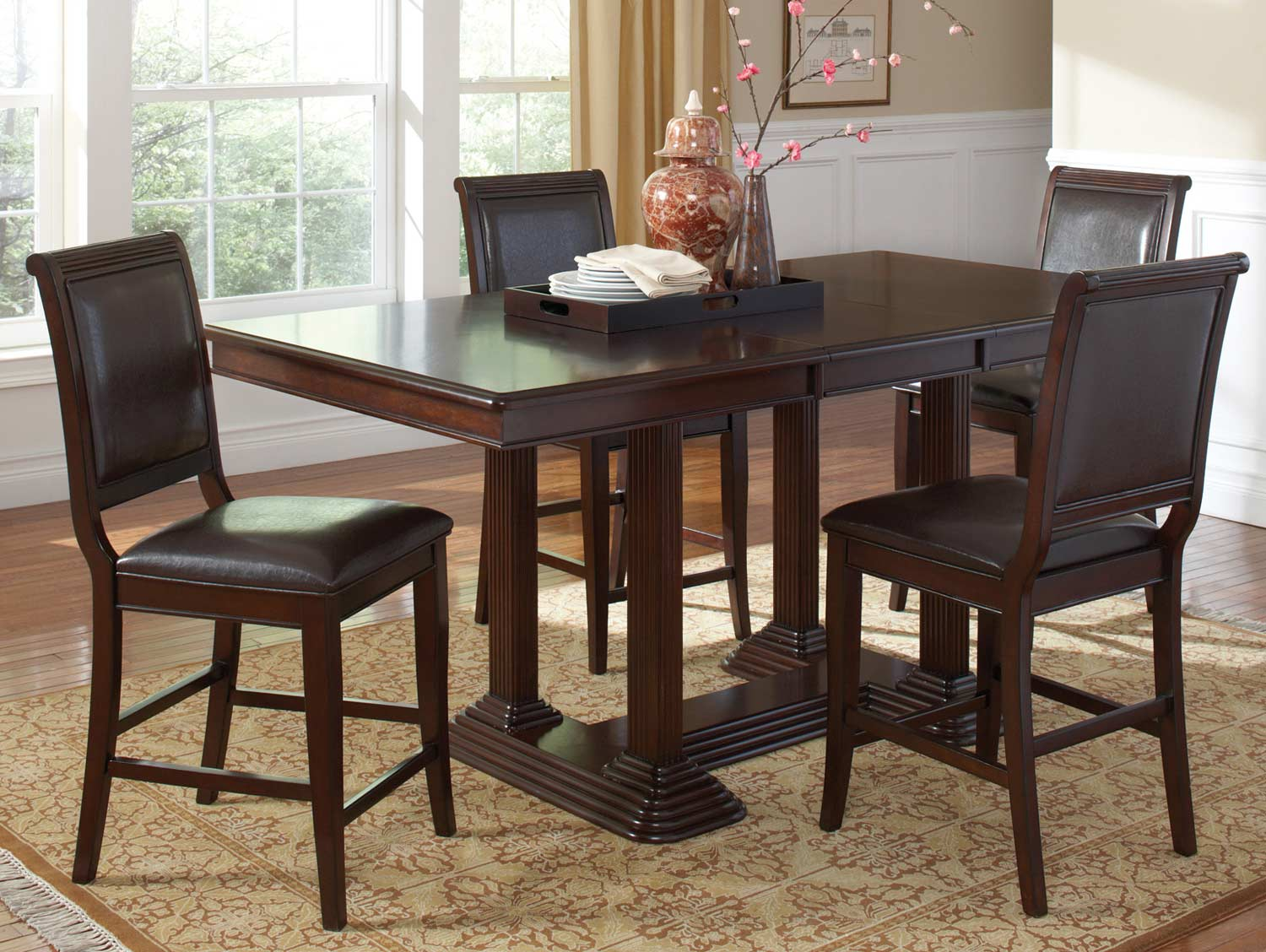Coaster Sullivan Counter Height Dining Set - Brown Cherry