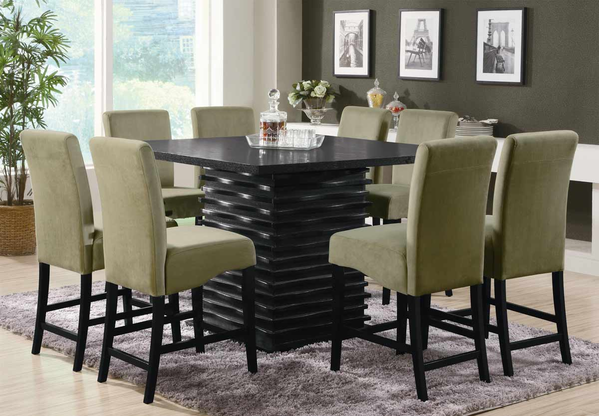 Coaster stanton square counter height dining set for Black dining room furniture