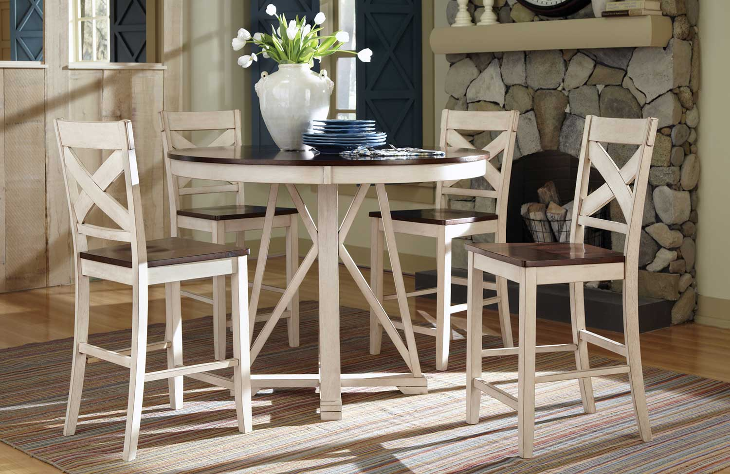 Coaster ellinger counter height dining set antique oak for Best type of table for small dining room