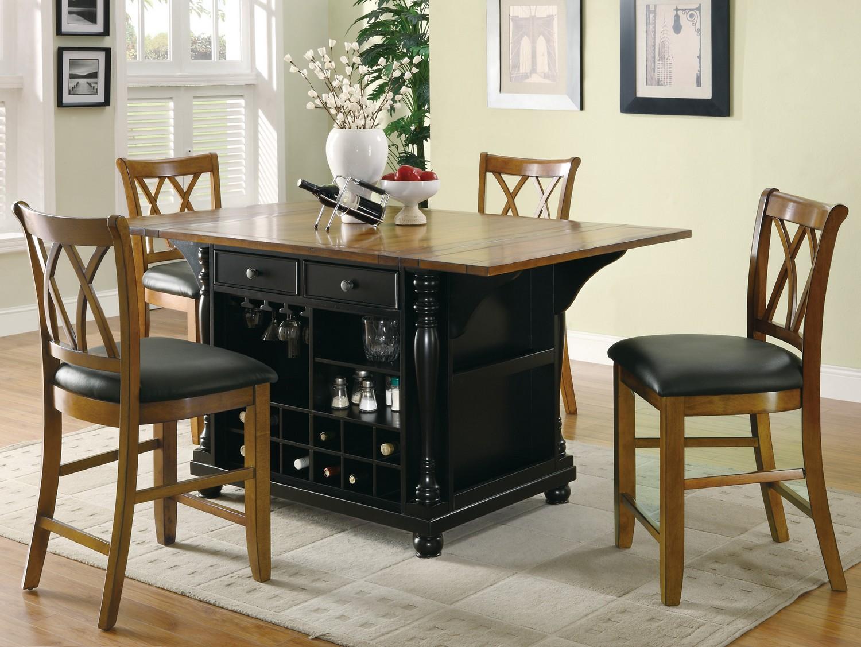Coaster 102270 Kitchen Island Set - Black/Brown