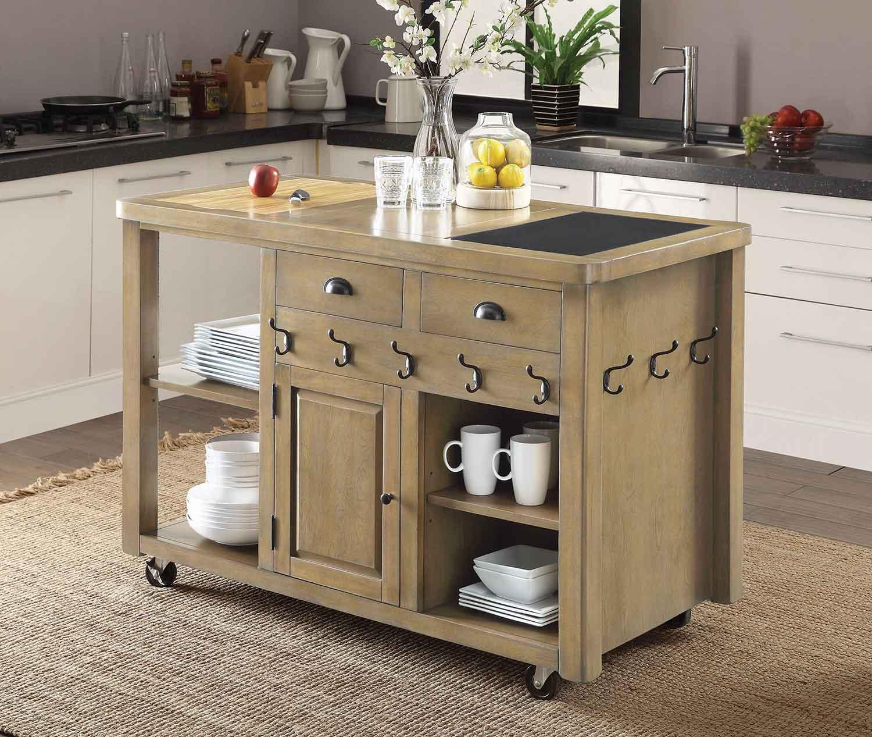Coaster 102286 Kitchen Cart - Weathered Natural