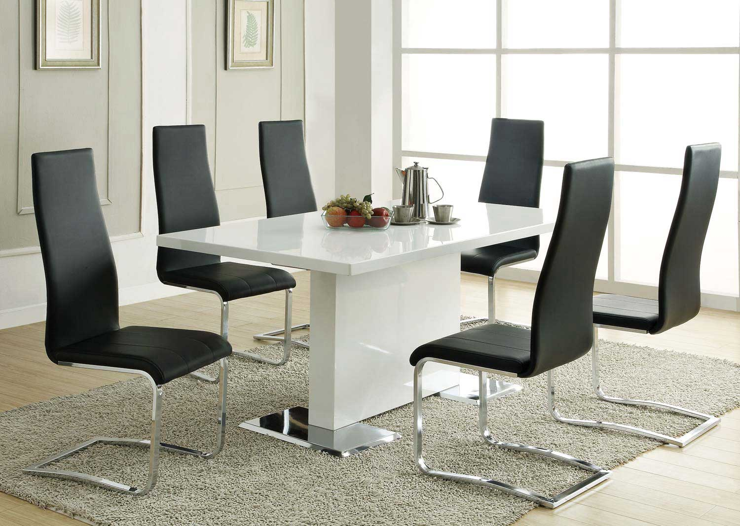 Coaster Mix & Match White Dining Set - Black Chair