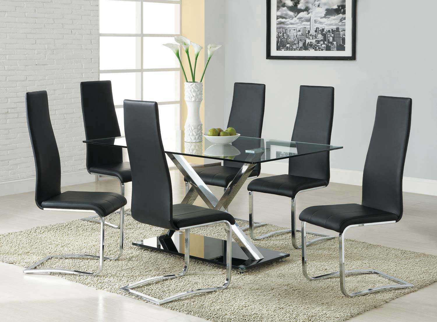 Coaster Mix & Match Metal Glass Top Dining Set - Black Chair