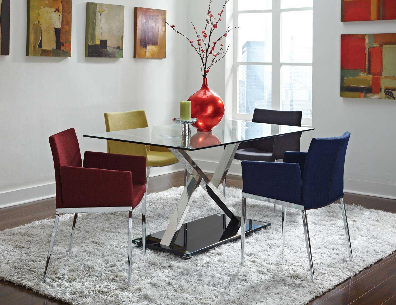 Coaster Mix & Match Metal Glass Top Dining Set
