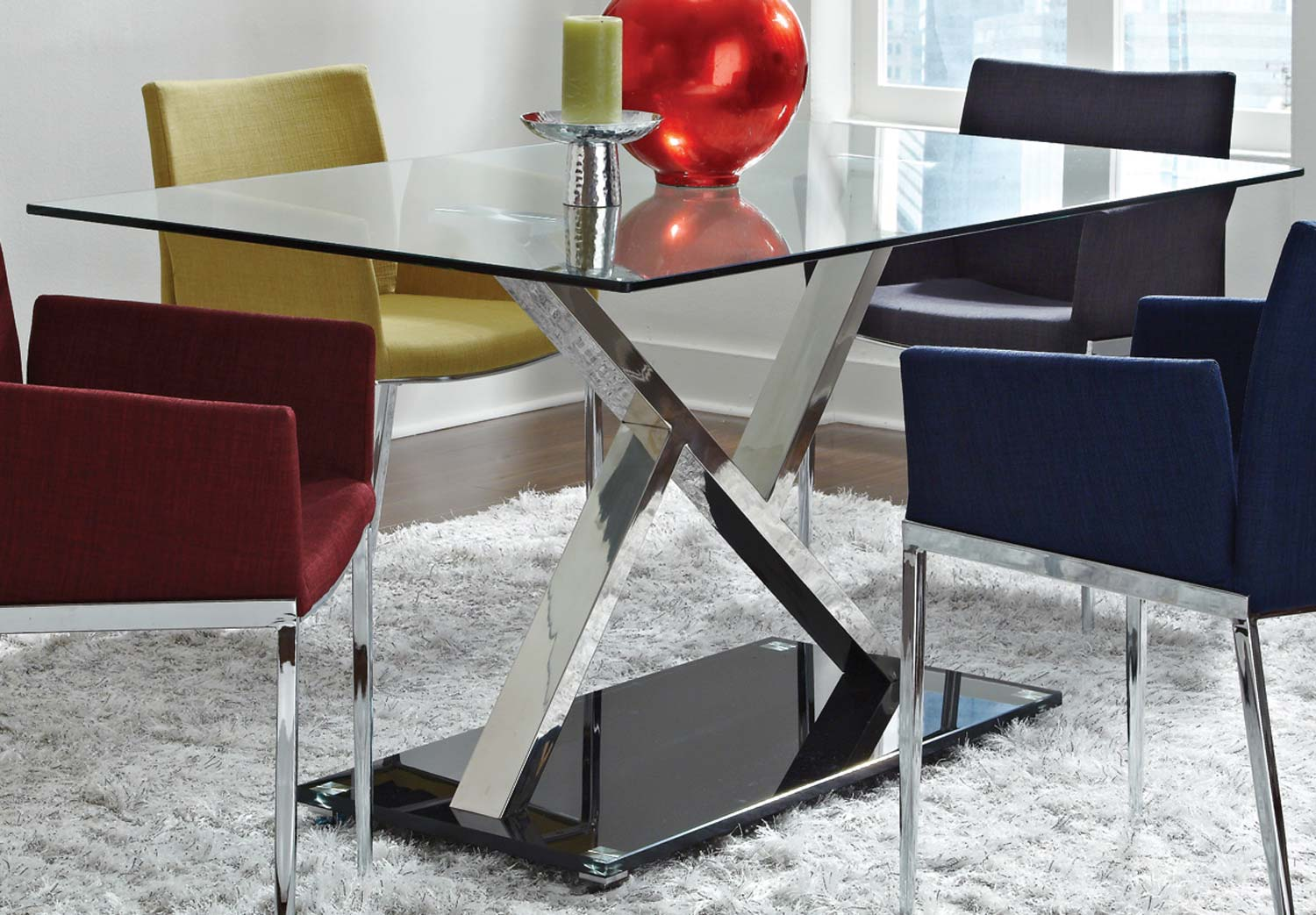 Coaster Mix Match Dining Table Glass Top