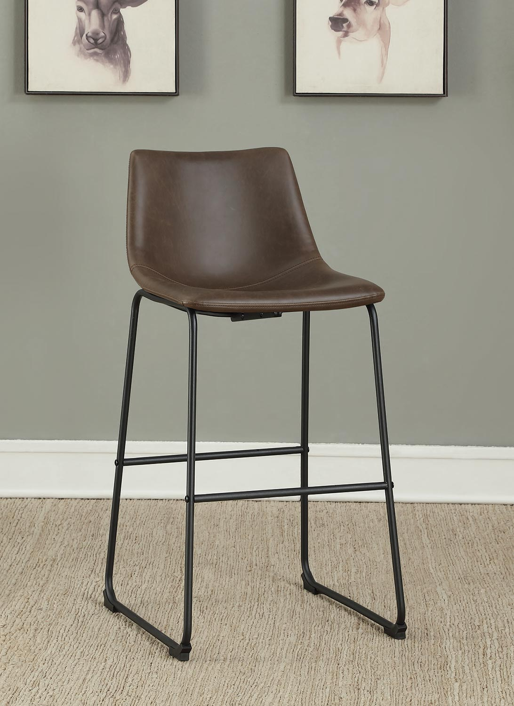 Coaster 102536 Bar Stool - Two-Tone Brown Leatherette/Black Legs